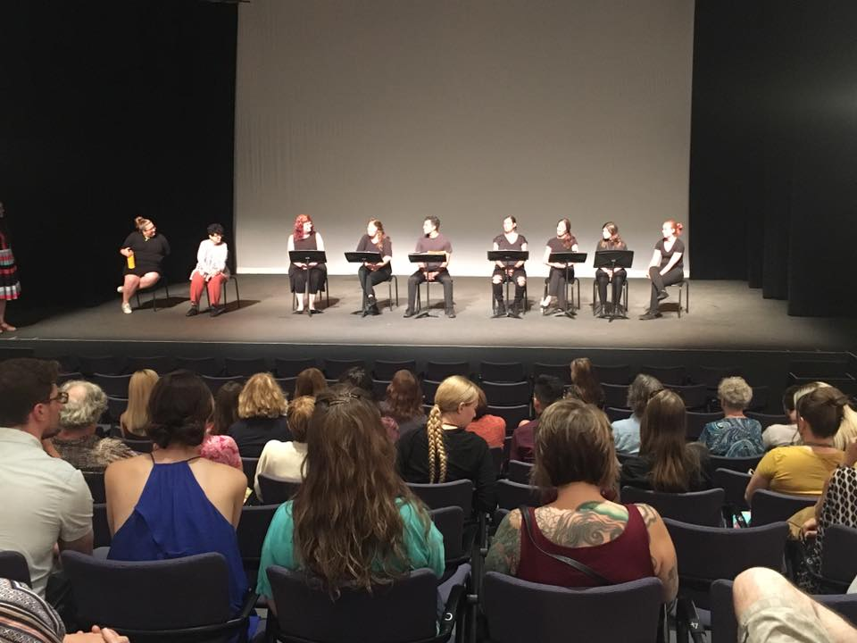 Actors Perform a staged reading with a view from the house